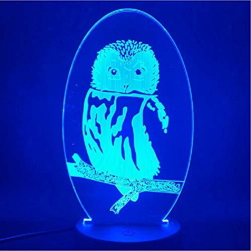 The Owl Animals 3D-nachtlampje met leuke touch-sensor, meerkleurig, LED-nachtlampje voor ruimtes van acryl, werkt op batterijen