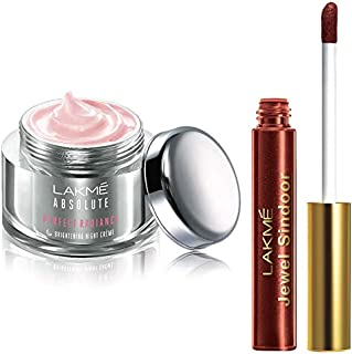 Lakmé Absolute Perfect Radiance Skin Lightening Night Creme, 50g & Lakme Jewel Sindoor, Maroon, 4.5ml