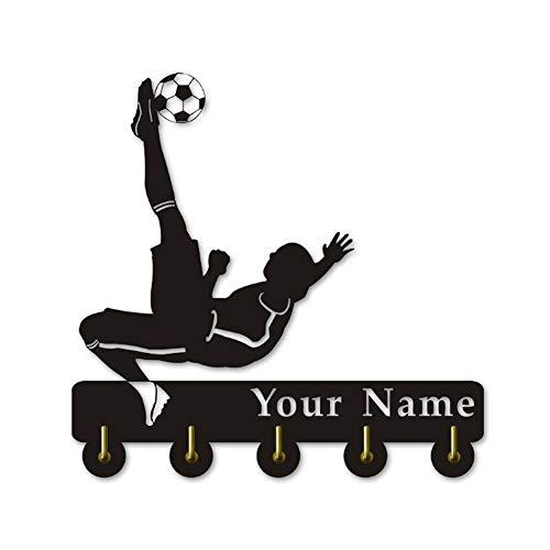 LBR Personalice su Nombre para los Temas de fútbol Percha de Madera Ropa Sombrero Clave Gancho/Perchero/Pared Gancho Decoración Cocina Baño Gancho de Toalla, Negro