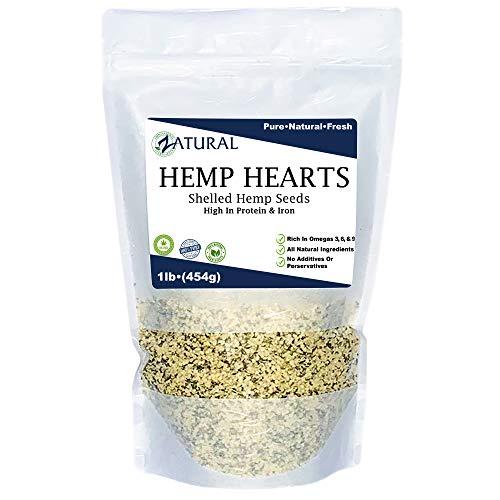 Hemp Hearts - 100% Pure Hemp Hearts - Raw Shelled Hemp Seeds (1 Pound) Maryland