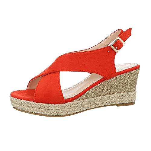 Ital-Design Damenschuhe Sandalen & Sandaletten Keilsandaletten Synthetik Rot Gr. 39