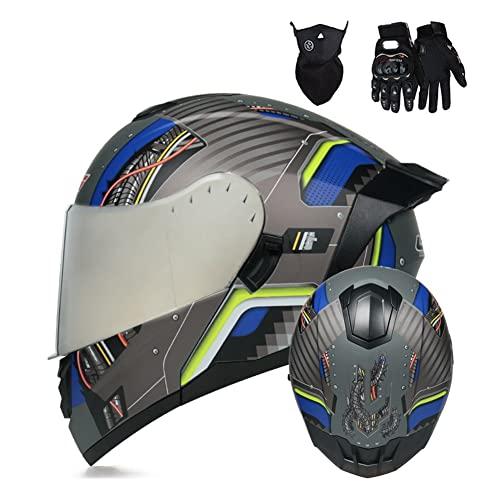 Casco Moto Modular Integral con Doble Visera Casco Integrado Cascos de Motocicleta Abatible integrales para Mujer Hombre Adultos Dot/ECE Homologado (Color : Graey C, Size : XL/X-Large 59-60cm)