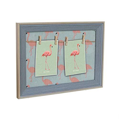 Marco de Fotos Panel con Pinzas Colgador Fotos Portafotos Notas Flamenco Flamingo 40 cm