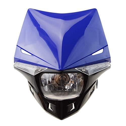 GOOFIT Faro Delantero Moto H4 LED Universal 12V 35W Homologado Supermoto Motocross para Bicicleta Cafe Racer ATV Azul