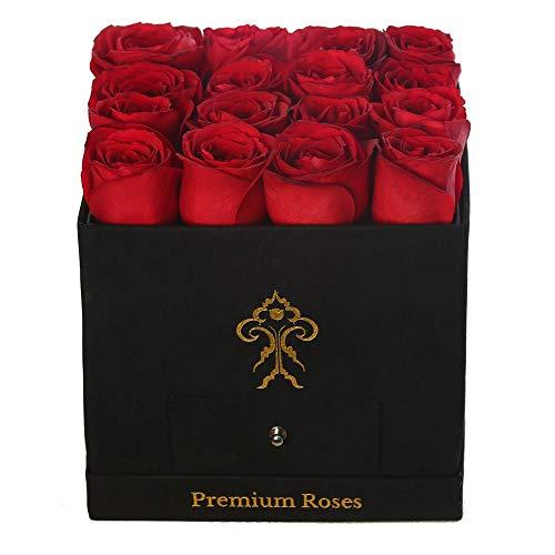 Premium Roses| Real Roses That Last a Year | Fresh Flowers| Roses in a Box (Black Box, Medium)