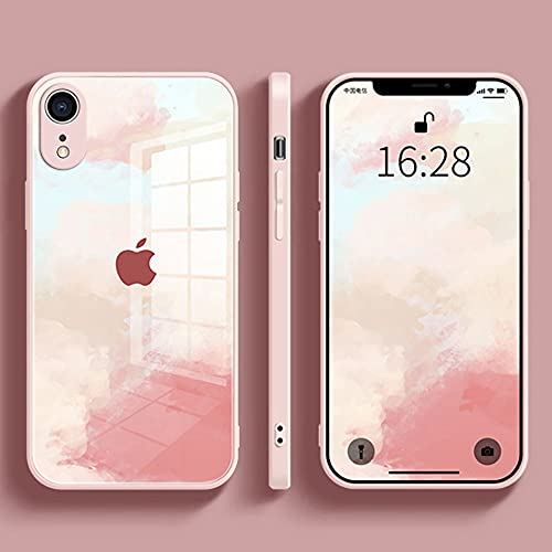 Compatible with iPhone Xr Case Watercolor, Woman Cover Tempered Glass Back with Flexible Soft TPU Silicone Luxury Frame Shock Absorption Protection (6.1inch)(Pink)