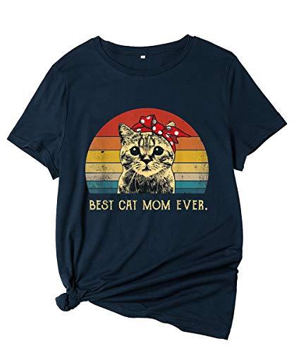 Camisetas Mujer Verano Manga Corta Basicas Estampadas Graciosas con Frases Tops Camisetas Algodon Los Suaves Dibujos Animados Camisetas Dia De La Madre Divertidas Retro Casual Camisetas Azul Marino