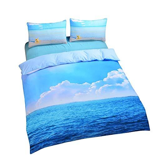 L.J.JZDY Biancheria da Letto Set 3 Pezzi Starfish Bedding Cool 3D Stampa Morbida Copripiumino Ocean Bedding Regina Bedding Set Piumone (Color : Blu, Size : Twin173cmx218cm)