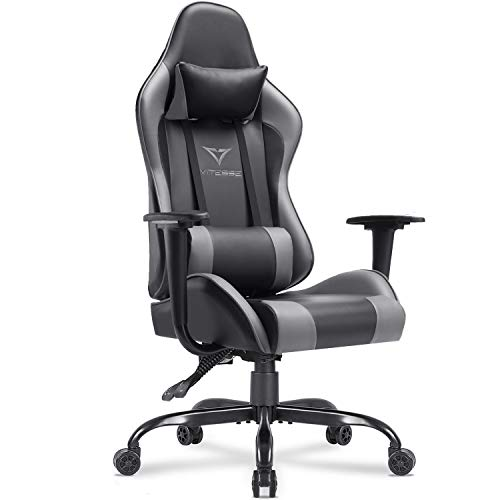 Vitesse Gaming Chair (Sillas Gaming) Ergonomic Computer Desk Chair High Back Racing Style Comfortable Chair Swivel Executive Leather Chair with Lumbar Support and Headrest (Grey) Chairs Dining Features Game Kitchen Video
