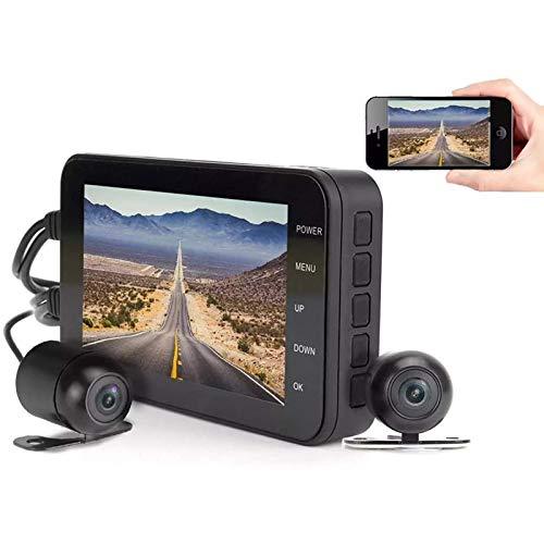 ALLWIN Leva rociada Motocicleta,Moto 1080P + 720P Grabador Video Doble Lente,DVR Resistente al Agua con Gran Angular de 140 °, WiFi, Sensor G,grabación en Bucle, hasta 128 GB como máximo