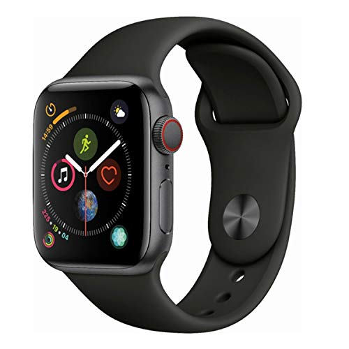 Apple Watch Series 4 (GPS + Cellular, 40MM) - Space Gray Aluminum Case with Black Sport Band (Renewed)