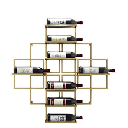 Etagère à bouteille Étagères à vin murales suspendus porte-bouteilles de vin en métal Étagères de rangement d'équipement de vin en fer Vintage-détient 8 bouteilles de vin, 80x10x80cm (Couleur : Or)