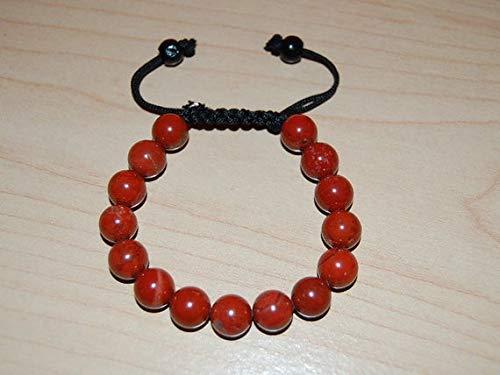 Coral rojo natural cuentas lisas de forma redonda de 8 mm enhebradas con pulsera de shamballa de hilo de color negro para hombres y mujeres Regalo para él / ella, curación, prosperidad.