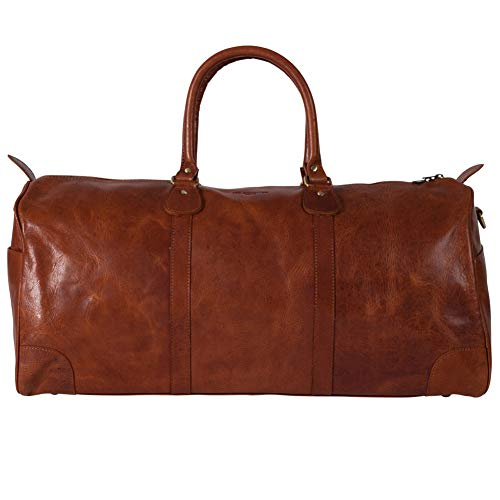 HOLZRICHTER Berlin No 25-1 (M) - Premium Vintage Weekender reistas, sporttas en handbagage van leer - Cognac-bruin
