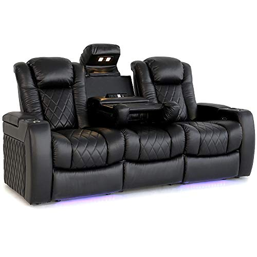 Valencia Tuscany Home Theater Seating | Premium Top Grain Nappa Leather, Power Headrest, Power Lumbar Support, with Center Drop Down Console (Row of 3)