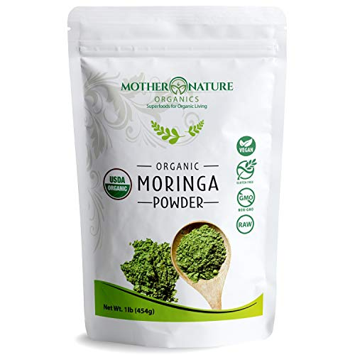 Organic Moringa Powder - 100% Raw Moringa Oleifera from India 1 LB (16 oz) - Energy Booster, Joint & Immune Support - Great in Drinks, Smoothies & Recipes - Vegan & Gluten-Free