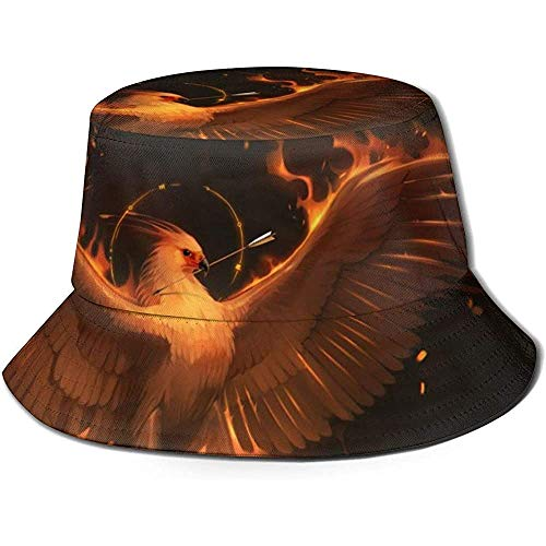 Los Sombreros de Cubo Transpirables de Tapa Plana de Phoenix Usan Gorras de Pescador de protección Solar