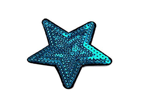 gedeacc-kreativ Bügelbild Applikation Zum Aufbügeln Stern Pailletten türkis 7,0 cm
