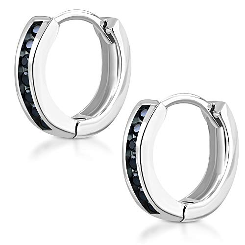 Tata Gisèle - Pendientes pequeños de aro de acero inoxidable plateado – 7 cristales negros