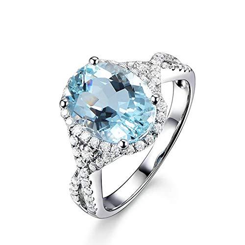 Daesar Anillo Oro Mujer 18K Anillo Oval Aguamarina Azul Claro 3.16ct Diamante Blanco 0.55ct Anillo Talla 17