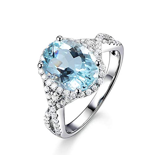 Cenliva Cute Rings for Women, Commitment Rings for Women18K Gold 3.16ct Oval Blue Sapphire IF Ring Size T 1/2