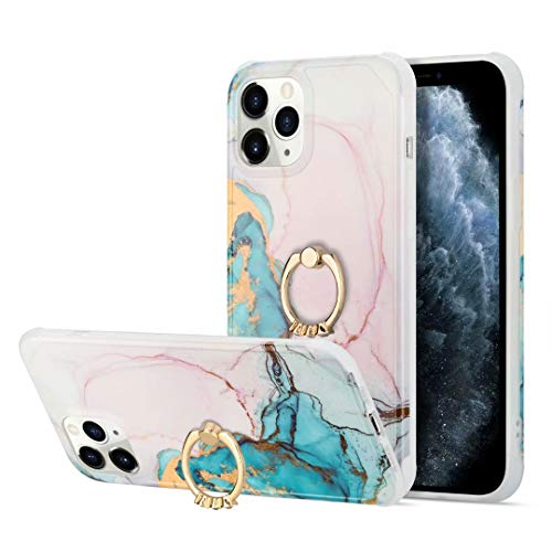 Marble Case for iPhone 12 Pro Max with Ring Kickstand, Marble Design 360 Degree Rotating Ring Grip Phone Case, Soft TPU Shockproof Impact Protection Cover for iPhone 12 Pro Max LD5