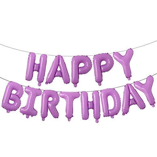 Happy Birthday Balloons, Aluminum Foil Banner Balloons for Birthday Party Decorations and Supplies (Purple)