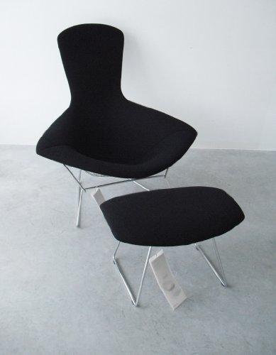 Harry Bertoia Hochlehner mit Hocker Knoll International/Bird Chair und Hocker/Vollpolster Tonus schwarz/Designklassiker von Klingenberg