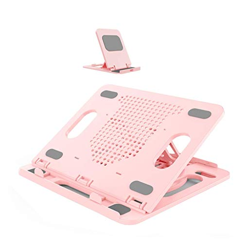 MiaoMiao Laptop riser stand Ventilated adjustable laptop stand for tablet pad Notebook/office/bedroom/study (with cell phone holder) (Color: pink)