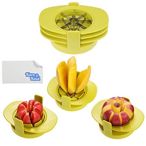 Apple/Tomato/Mango Cutters - Set of 3 - Sturdy Base Keeps Fruit/Vegetable...