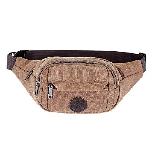 BeniNew canvas men's waist bag, mobile phone bag, wallet, business cashier bag, multi-compartment-Brown