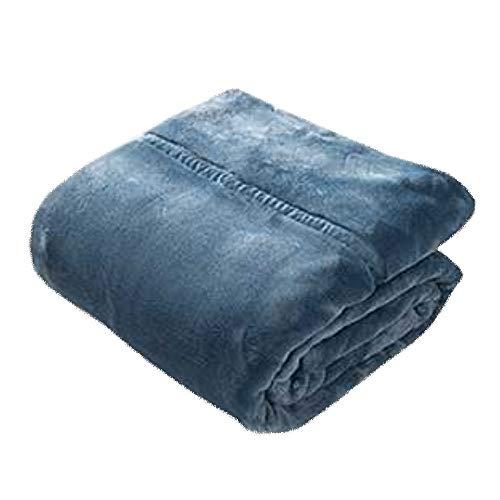 LIANG Manta de franela, de piel sintética, ligera, acogedora y cálida, tamaño individual o doble XL (color: azul, tamaño: 110 x 150 cm)
