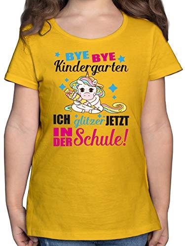 Einschulung und Schulanfang - Ich Glitzer jetzt in der Schule Einhorn mit Schultüte - Fuchsia - 140 (9/11 Jahre) - Gelb - schultüte mädche - F131K - Mädchen Kinder T-Shirt