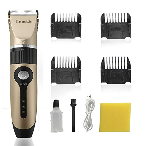 Hair Clippers, Rechargeable Cordless Hair Trimmer, Professional Hair Clippers for Men Women All-in-one Hair Cutting Kit (Gold)