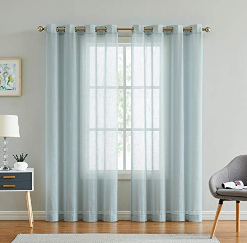 """Meiying Linen Semi Sheer Curtains 96 inch Length 2 Pieces Natural Light Blue Window Curtain Panels for Bedroom/Living Room/Patio Grommet Top (52"""" W x 96"""" L, Blue)"""