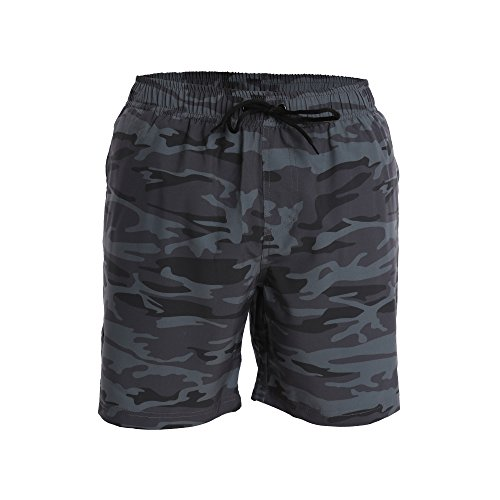 Men's Swim Trunks and Workout Shorts - M - Gray Blue Camo - Perfect Swimsuit or Athletic Shorts for The Beach, Lifting, Running, Surfing, Gym. Boardshorts, Swimwear/Swim Suit for Adults, Boys