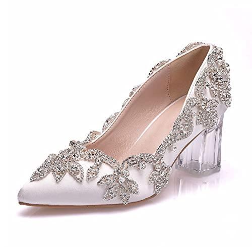 ZDERET Dama De Honor Novia Zapatos De Boda Diamantes De Imitación Cristal...