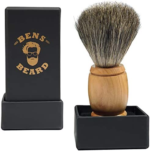 Badger hair shaving brush for gentlemen and the perfect shave olive wood handle the ideal gift product image