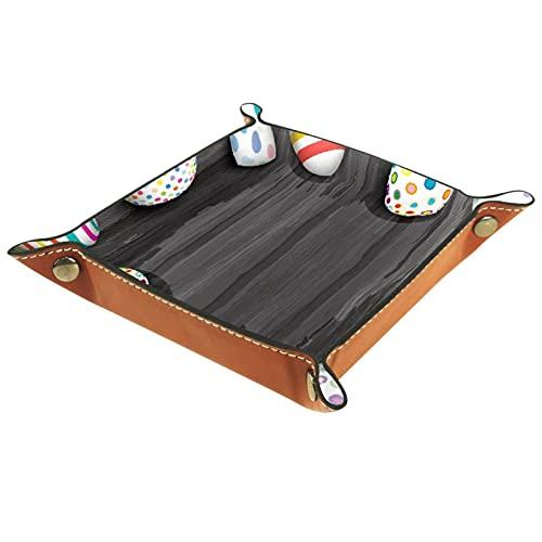 AITAI Bandeja de valet de cuero vegano, organizador de mesita de noche, placa de almacenamiento de escritorio, huevos de Pascua en textura de madera vieja
