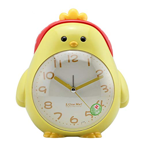 ChowDon Novelty Cartoon Chicken Alarm Clock Silent Sweep Night Light Home Decoration Stand Table Timer (Yellow)