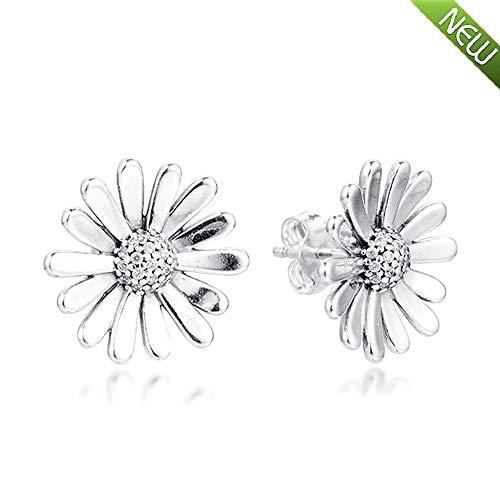 PANDOCCI 2020 Frühling Gänseblümchen Blume Aussage Ohrstecker für Frauen 925 Silber DIY Passend für Original Pandora Armbänder Charme Modeschmuck