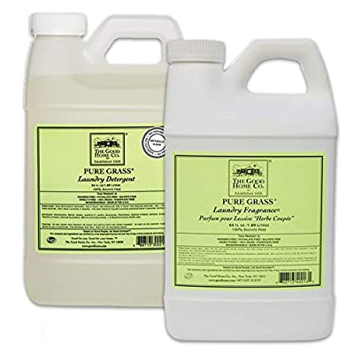 Natural Liquid Laundry Detergent Refill, 64-Load (64 fl. Oz) + Liquid Laundry Fabric Softener 64 Oz. Refill - The Good Home (Pure Grass)