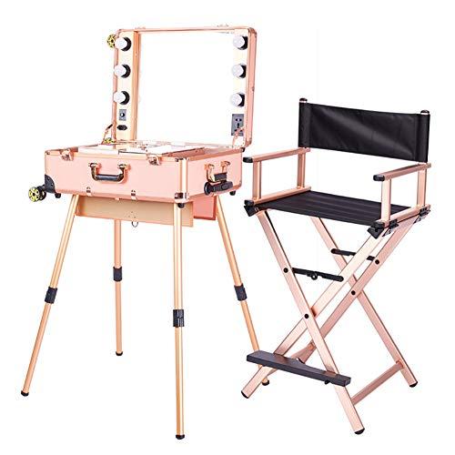 Estuche de maquillaje profesional 2 en 1 Trolley Estuche cosmético portátil para artistas con luces LED Espejo Negro Silla plegable de gran capacidad para director,Rosegold
