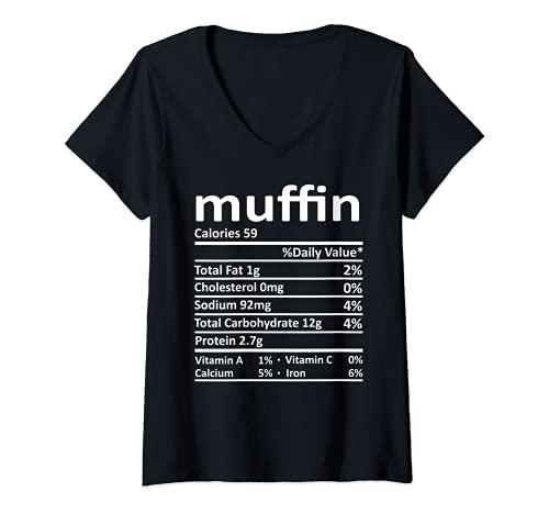 Mujer Nutricin Muffin Funny Accin de Gracias Comida Navidad Camiseta Cuello V