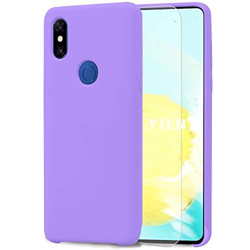 Feyten Funda para Xiaomi Mi Mix 3 [Cristal Vidrio Templado],Slim Líquido de Silicona Gel Carcasa Anti-Rasguño Protectora Caso (Violeta Claro)