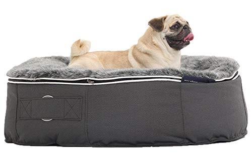 Ambient Lounge Medium Pet Bed Haustierbett, Sitzsack, Zweifarbig verwoben, wasserdicht und kaufest, weiches Nylon, 1200D Gewicht, Verbundstoff mit gummierter Rückseite, grau/schwarz, M