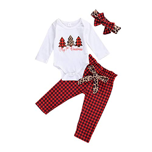 Newborn Baby Girl Christmas Outfits My First Christmas Pajamas Long Sleeve Romper+Leopard Plaid Pants+Headband 3PCS Fall Winter Clothes Set (My 1st Christmas A, 9-12 Months)