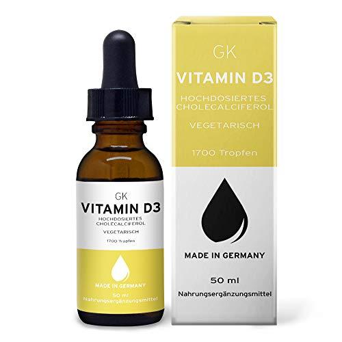 GK Vitamin D3 Tropfen hochdosiert mit 5000 I.E. pro 5-Tagesdosis (vegetarisch, 50ml) - D3 Tropfen mit MCT-Öl als Basis - Hochdosierte Vitamin D Präparate
