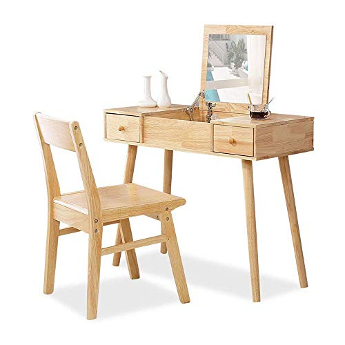 N/Z Daily Equipment Solid Wood Dressing Table Simple Bedroom Dressing Table Stool Combination Household Furniture Modern Dressing Table with Mirror