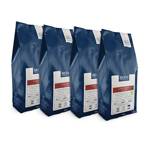 BEEM CAFÉ CREMA Ganze Bohne - 4x 1 kg | Kaffeebohnen | Bohnenkaffee | Fairtrade | Bio | Geeignet für Filterkaffee, Kaffeevollautomat, Siebträger